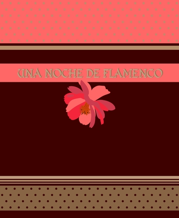 Red flower on brown background, polka dot ribbons and golden stripes. Flamenco night (inscription in Spanish). Invitation card, label, chocolate packaging design or poster in vector.
