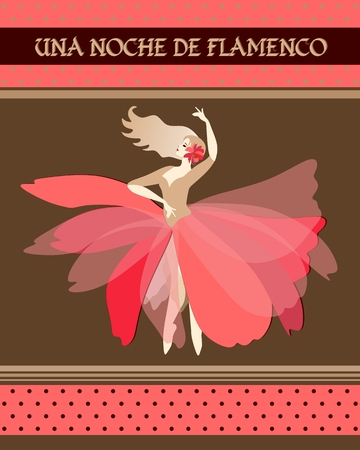 Spanish ballerina with red flower in blonde hair dressed in puff-skirt costume dancing Spain national dance. Flamenco night (inspiration in Spanish). Concert poster, invitation card. Art Deco style.