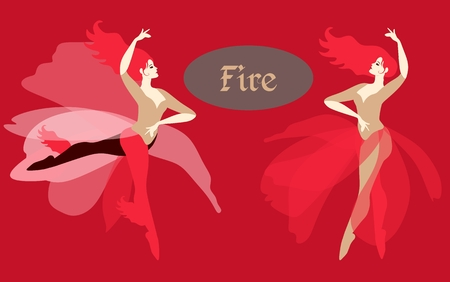 Forces of nature, depicted in the form of dancing girls. Great collection. The element of fire. Çizim