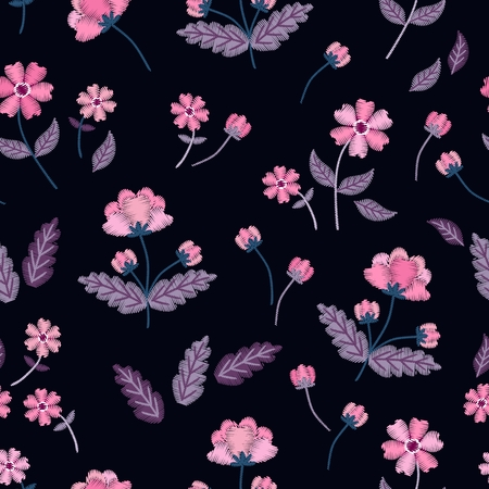Vintage pink flowers in vector. Seamless pattern with embroidery. Beautiful floral illustration on black background. Illusztráció