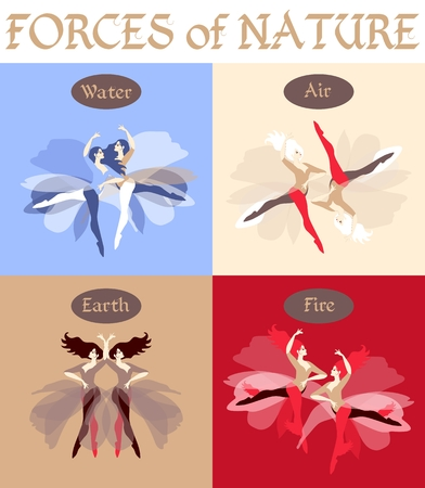 Set of beautiful vector cards. Forces of nature, depicted in the form of dancing girls. Four elements: fire, air, earth and water. Çizim