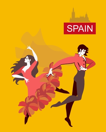 Beautiful spanish dancers flamenco isolated on yellow background in vector.