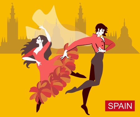 Spanish couple - girl dressed in red dress, and man wearing national clothes with flying cloak - are dancing flamenco in streets of the city. Yellow background, silhouettes of buildings in distance. Ilustração