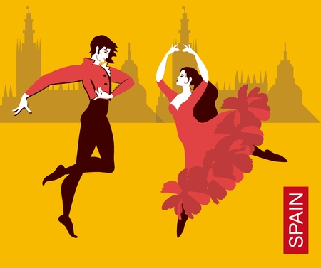 Beautiful Spanish couple in national costumes dancing flamenco in the city streets. Silhouettes of buildings on a yellow background. The colors of the flag of Spain. Luxury collection. Vector.