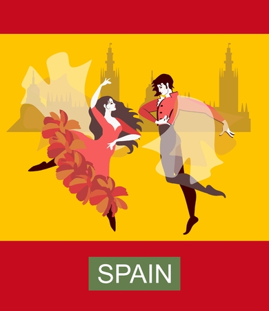 Beautiful spanish flamenco dancers on yellow background. Stylized flag of Spain. Vector illustration. Vettoriali