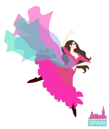 Passion flamenco. Spanish dancer with a flying shawl isolated on white background. Vector illustration.