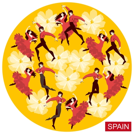 Several spanish couples in national costumes dancing flamenco on a round yellow background in the vector.
