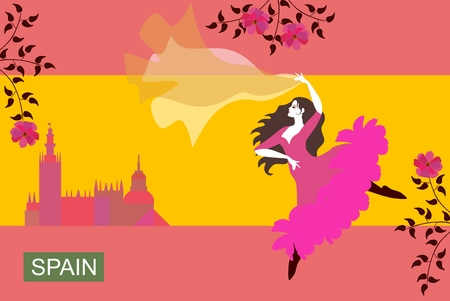 Beautiful Spanish girl dressed in long pink dress and with flowing shawl, dancing flamenco in the streets of the city. Stylized image of the Spanish flag. Flowering branches of trees.