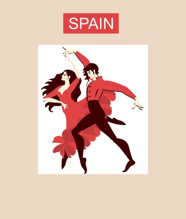 Spanish couple in national costumes dancicg flamenco. Beautiful collection.