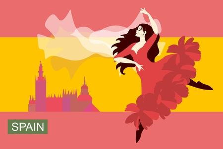 Spanish girl with fluttering hair, dancing flamenco with shawl in her hands in  form of flying bird against the background of stylized flag of Spain with the silhouette of city in distance. Vector.