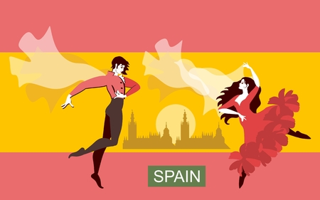 Beautiful couple in national Spanish costumes dancing flamenco in the streets against the background of the flag of Spain. Rising sun, shawl in the form of a flying bird. Vector illustration. Иллюстрация