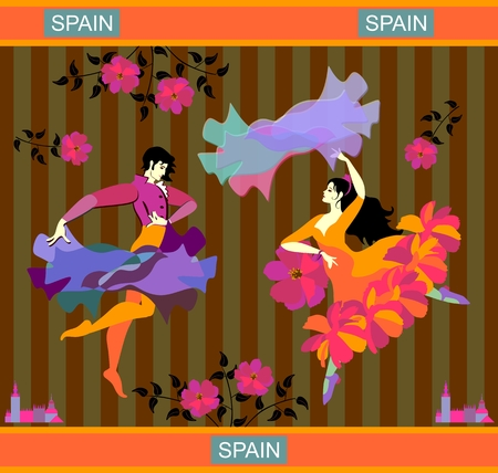 Young Spanish couple dancing flamenco. Man with raincoat and woman with shawl in the form of flying bird. Striped background. Poster, banner, postcard in vector.
