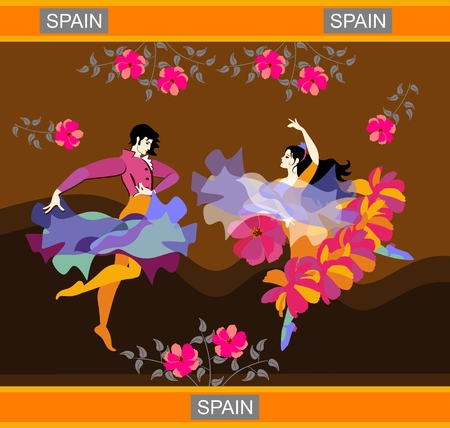 Spanish flamenco dancers dancing in flowered garden on background of hills. Cloak and shawl in the form of flying birds. Vector image.