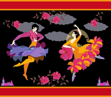 Spanish dancers in national clothes with fan and raincoat in their hands in form of flower and flying bird, dancing flamenco against night sky, moon and clouds.  Beautiful greeting or invitation card  イラスト・ベクター素材