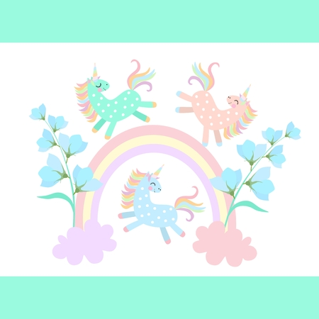 Funny little pony unicorns playing among the rainbow and clouds, from which grow blue bell flowers isolated on  white background in vector. Print for T-shirt. Magic pattern for children. Illustration