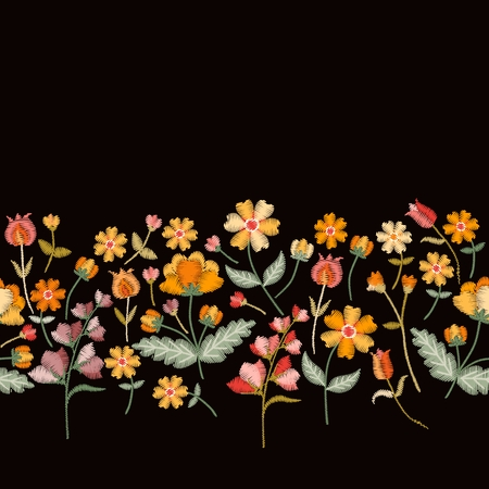 Vector embroidery border with cute wild flowers. Seamless floral embroidered pattern on black background. Fahion design for clothing.