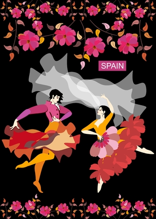 Spanish couple in national clothes dancing flamenco in a night garden isolated on black background. Manton and raincoat in the form of flying birds. Vector illustration. Great collection. Illustration