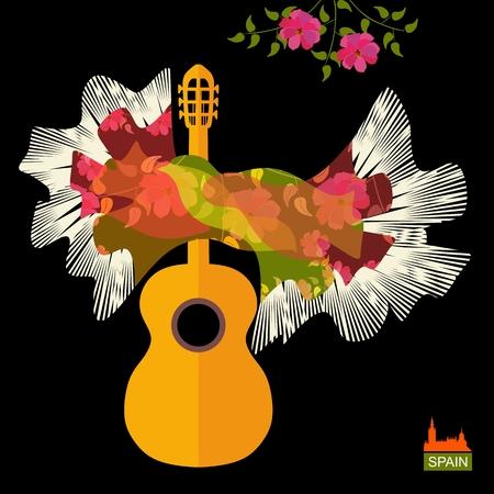 Gitarrensilhouette und spanischer Schal in Form von fliegenden Vögeln als Flamenco-Symbole auf schwarzem Hintergrund im Vektor isoliert.