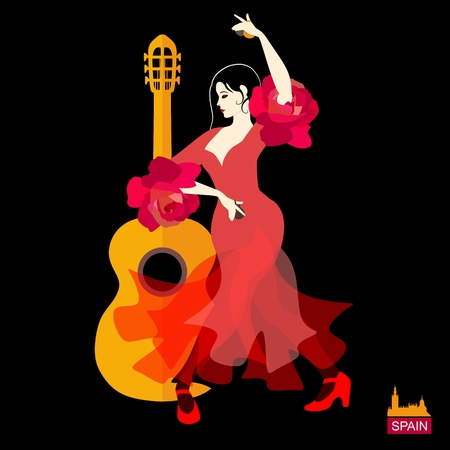 Beautiful Spanish girl, dressed in red dress with flounces in the form of roses, and with castanets in her hands, is dancing flamenco next to silhouette of the guitar on black background in vector.
