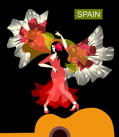 Beautiful Spanish girl, wearing red dress, and with rose in her hair, is dancing flamenco on the silhouette of guitar. Colorful shawl with tassels in the shape of flying bird on black background.