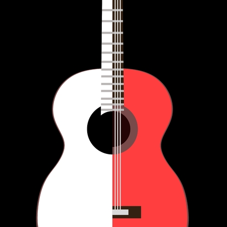 Stylized image of Spanish guitar isolated on black background in vector.