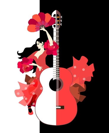 Beautiful Spanish girl dressed in long red dress with ruffles in form of roses and with fan in her hands dancing flamenco next to large stylized guitar on black and white background in vector. Illustration