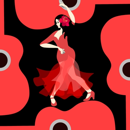 Beautiful Spanish girl dressed in long red dress, with rose flower in her hair and with castanets in her hands, dancing flamenco on stylized red guitar on black background in vector. Illustration
