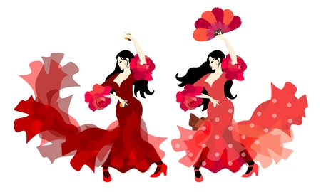 Two Spanish women dressed in traditional long dresses with ruffles dancing flamenco with fan and castanets isolated on white background in vector. Great collection. Design elements. Illustration