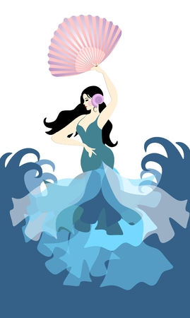 Spanish girl, dressed in long dress with ruffles and holding fan in shape of sea shell, flamenco dancing against backdrop of the sea.