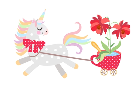 Small horse - unicorn harnessed to cart in the form of red cup on castors with large beautiful flower in it, rides isolated on white background in vector. Print for T-shirt. 일러스트