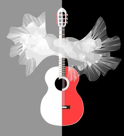 Stylized image of red-white guitar and Spanish shawl with tassels in shape of flying bird in vector. Elements of graphic design.