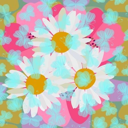 Cute seamless pattern with transparent blue butterflies flying over the chamomile and poppy flowers. Print for fabric.