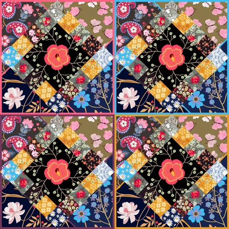 Endless patchwork pattern with cute flowers in country style. Stock Photo