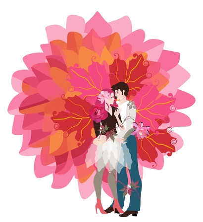 Young boyfriend and him girlfriend hugging each other forming a trunk of a stylized tree of life with bright orange leaves. Chocolate package design, valentines day card. Imagens