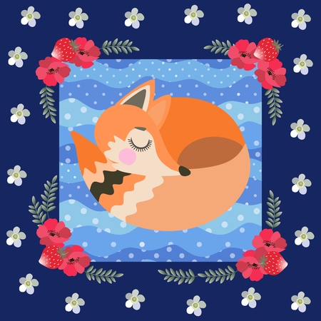 Sleeping fox on a blue polka dot background in a beautiful floral frame. Patchwork pattern for children. Great collection. Vector illustration.