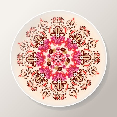 Decorative plate with bright floral mandala. Colorful round ornament. Vector illustration.