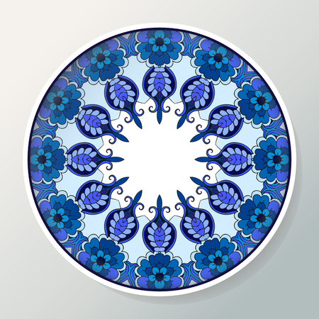 Decorative porcelain plate with round ethnic ornament. Mandala in blue colors. Interior decoration. Vector illustration.