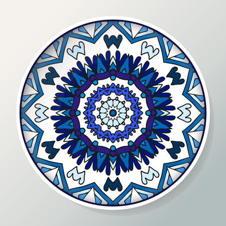 Decorative plate with mandala in ethnic style. Oriental round ornament in blue colors. Vector illustration.