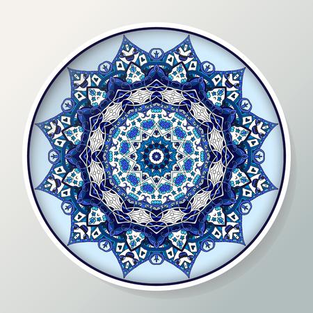 Decorative porcelain plate with mandala ornament in blue colors. Interior decoration. Vector illustration.