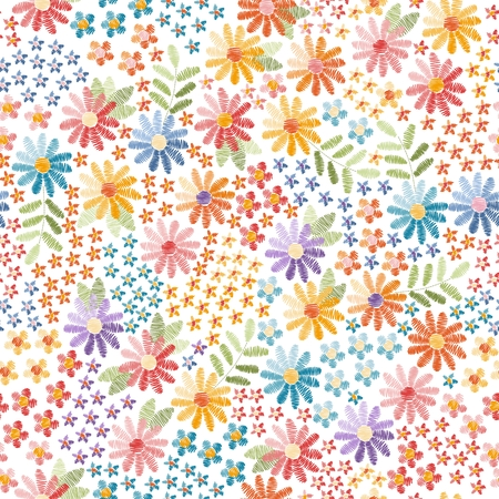 Embroidery seamless pattern. Beautiful flowering meadow with multicolor flowers. Vector illustration. 向量圖像