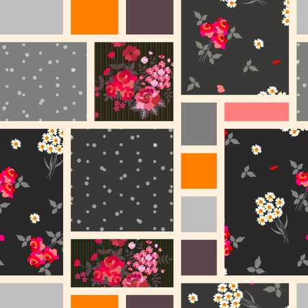 Patchwork seamless pattern. Flowers and geometric patches. Vintage print for fabric.