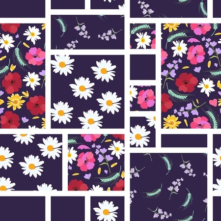 Seamless patchwork pattern with summer flowers - daisies, poppies, bellflowers. Vector illustration.