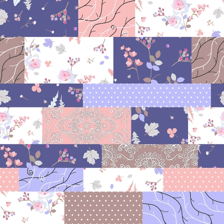 Elegant seamless patchwork pattern with flowers and polka dot. Vector illustration. Quilt in romantic colors.