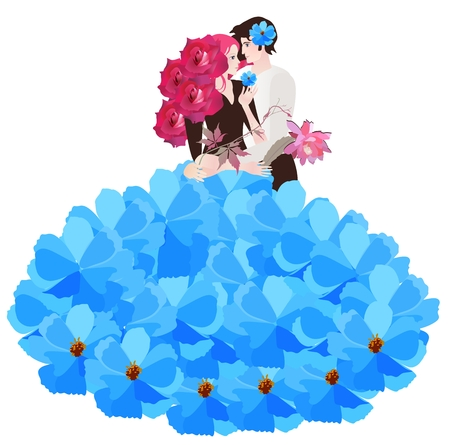 Groom with flower in hair and bride in lush blue skirt of petals and hairdress in form of bouquet of crimson roses hugging each other isolated on a white background. Stock Photo