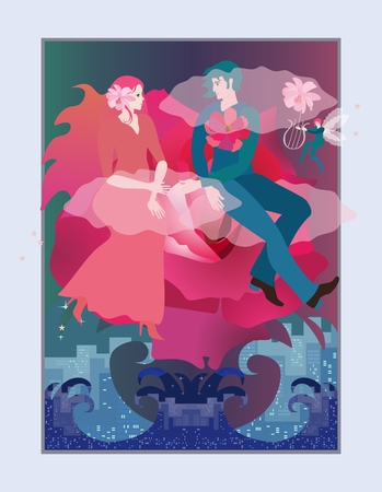 Magic illustration with a loving young couple flying on a cloud in the form of a beautiful rose over a raging ocean. Wedding invitation. Reklamní fotografie