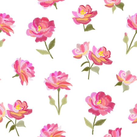 Embroidery seamless pattern with beautiful pink rose flowers isolated on white background. Summer print. Fashion design. Vector embroidered illustration.