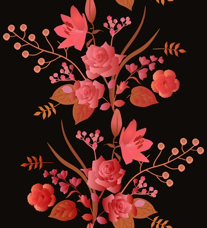 Autumn seamless pattern with beautiful garland of garden flowers isolated on black background. Stock Photo
