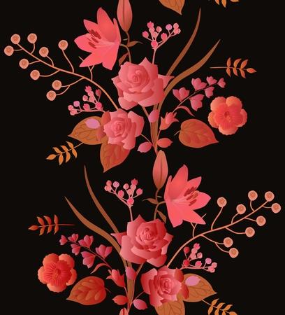 Otoño de patrones sin fisuras con hermosa guirnalda de flores de jardín aislado sobre fondo negro.