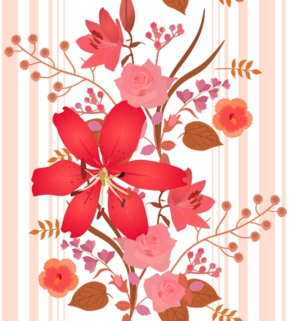 Vertical garland of red and pink garden flowers and stripes on white background. Beautiful lilies, roses and hibiscus.