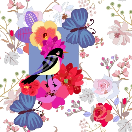 Seamless summer pattern with funny bird, big blue butterflies and bright flowers on gentle botanical background. Print for fabric, paper, wallpaper. Greeting or invitation card. Stock Photo